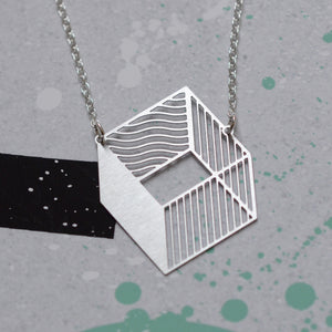 3d cube necklace