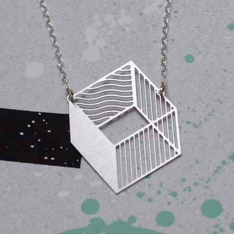 3d cube necklace steel