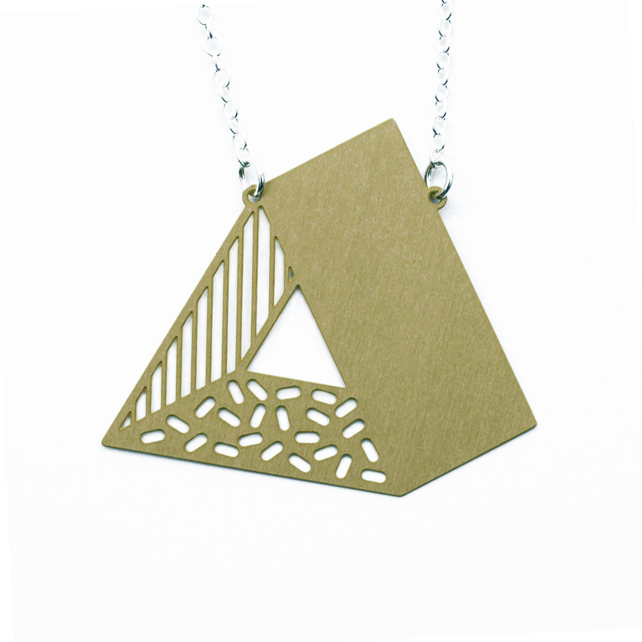 3d triangle necklace -  brass on white
