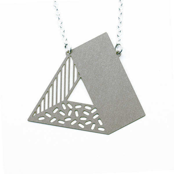 3d triangle necklace - steel on white