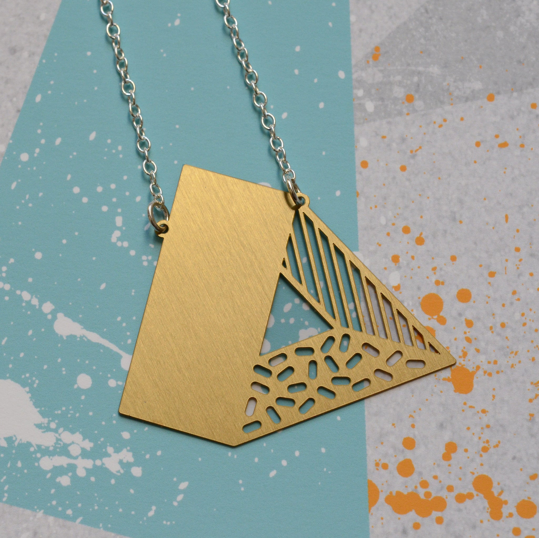 3d triangle necklace - brass