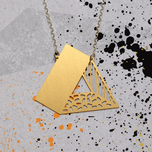 3d triangle necklace brass