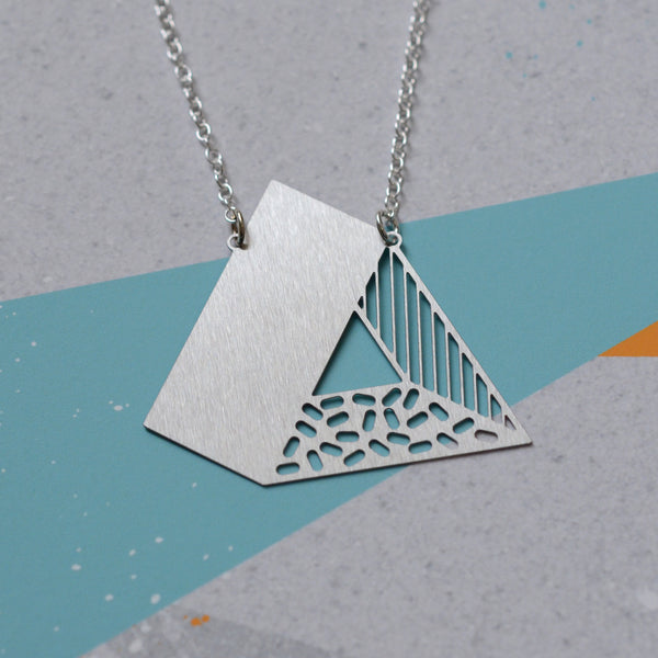 3d triangle necklace - steel