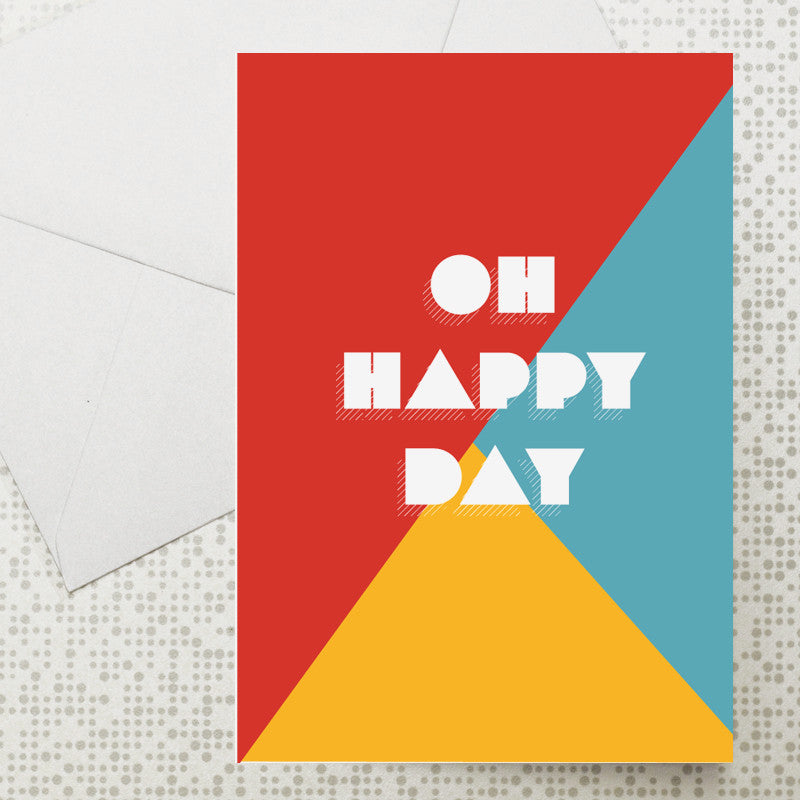 Colour block Oh Happy Day card