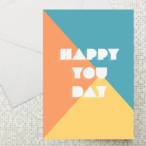 Colour block Happy You Day card