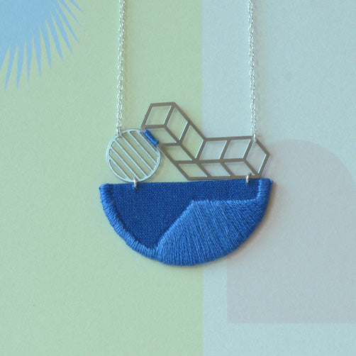 Horizon - Cobalt Blue composition embroidered pendant