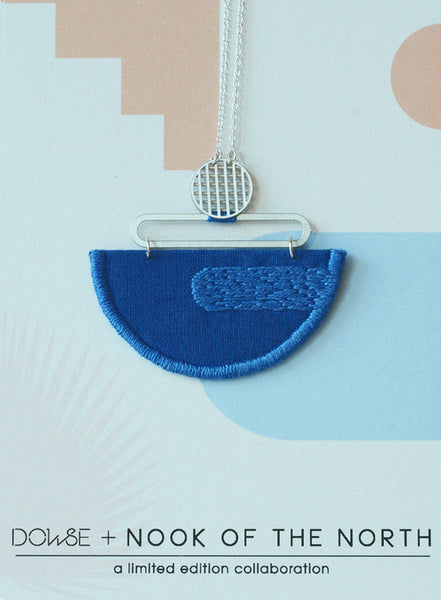 Reflection - Cobalt Blue composition embroidered pendant