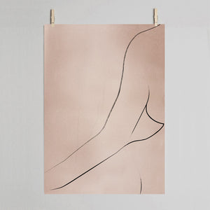 Curve art print on grey