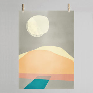 Desert art print on pegs