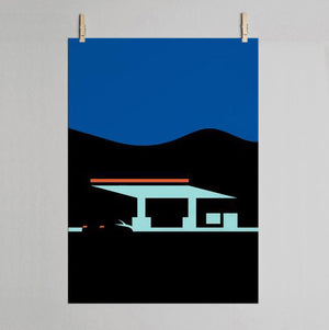 Gas station print on wall