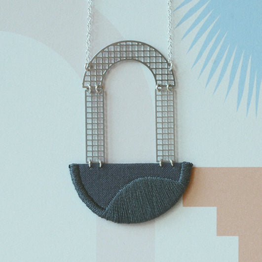 Folly - Grey Arch embroidered pendant