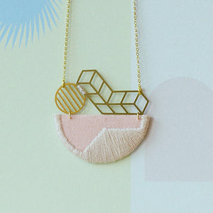 Horizon - Pink composition embroidered pendant
