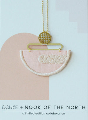 Reflection - Pink embroidered pendant