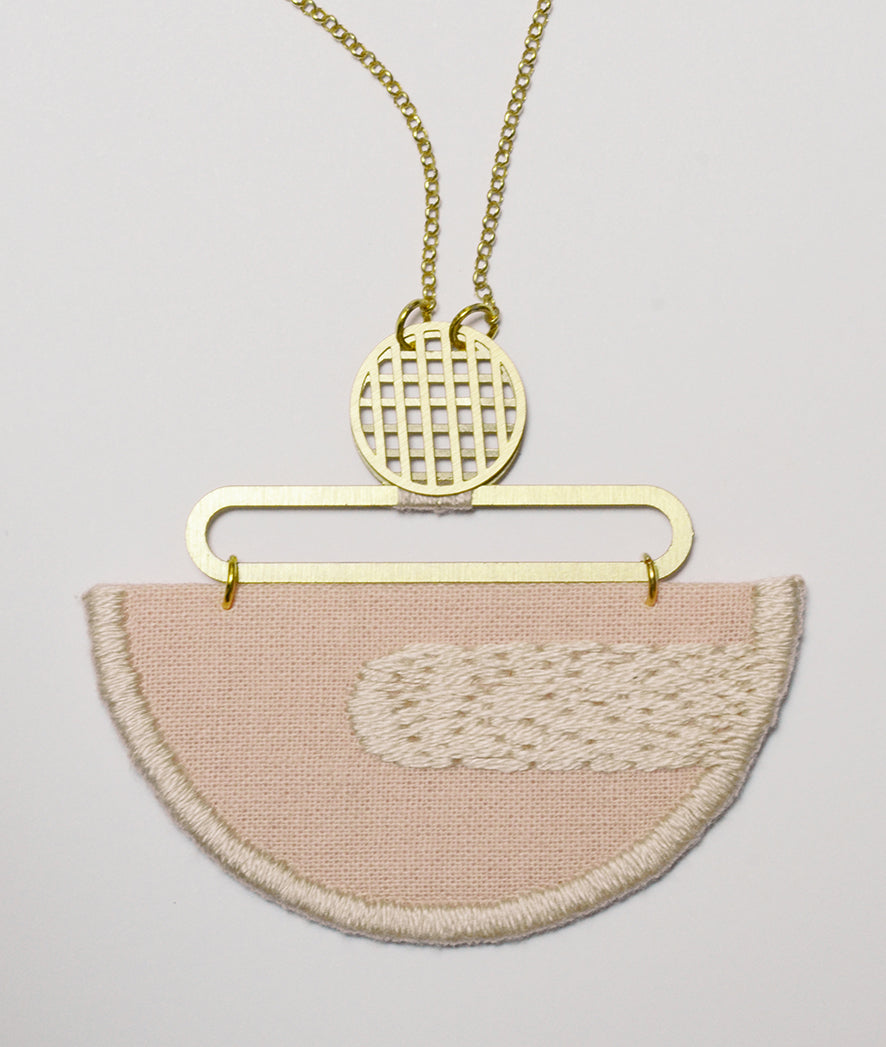 Reflection - Pink composition embroidered pendant
