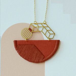 Horizon - Burnt Orange composition embroidered pendant