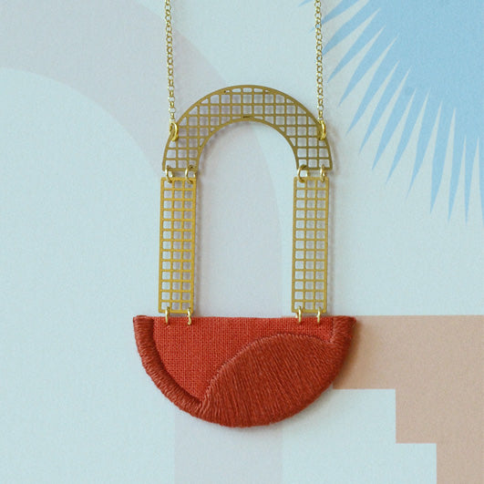 Folly - Burnt Orange Arch embroidered pendant