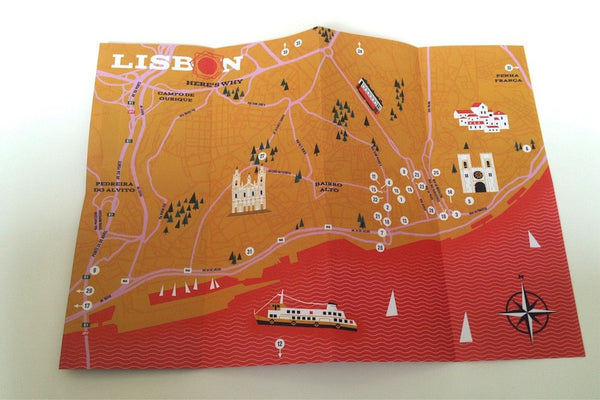 Lisbon illustrated guide map inside spread
