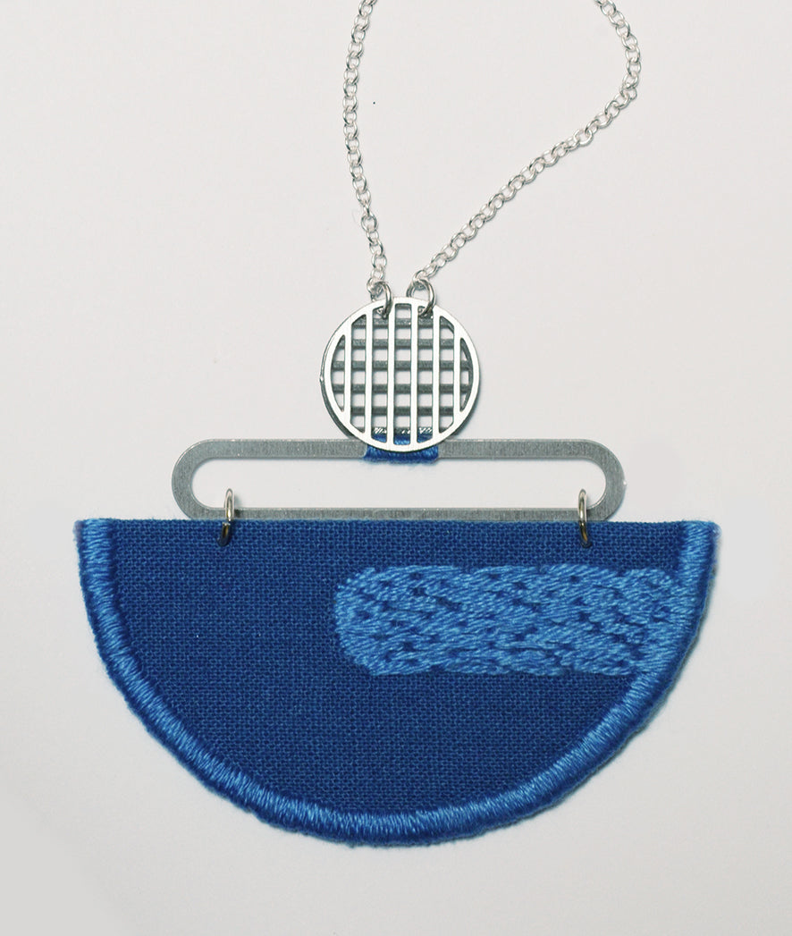 Reflection - Cobalt Blue embroidered pendant