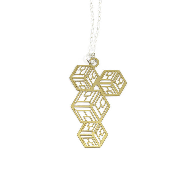 'Carre' geometric 3d cube necklace brass