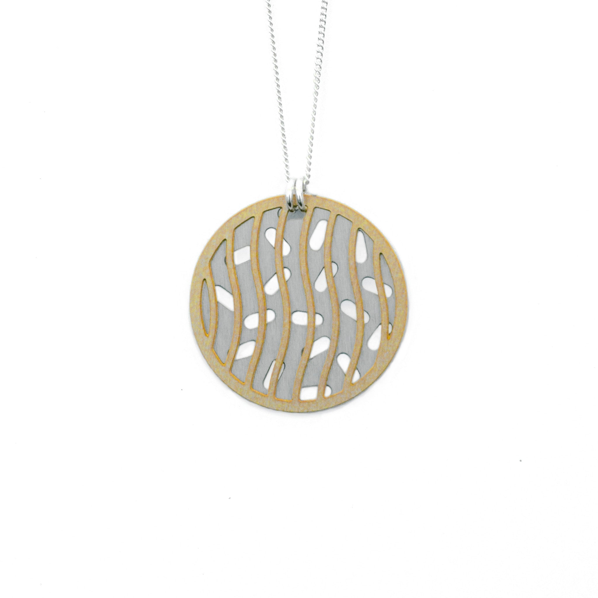 Layered disc necklace on white