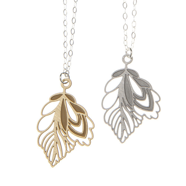 'Fal' etched folk leaf charm necklace. Brass and Steel