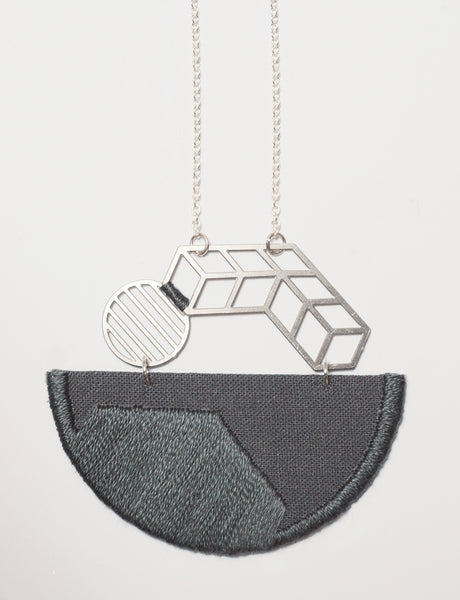 Horizon - Grey composition embroidered pendant