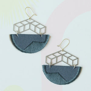 Steps -Grey composition embroidered earrings