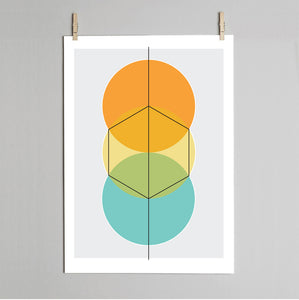 'How to draw a Hexagon' print
