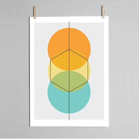 'How to draw a Hexagon' print on wall