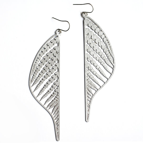 Mille Steel Earrings on White
