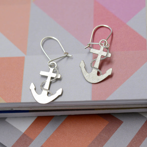 Molly Steel Anchor Earrings