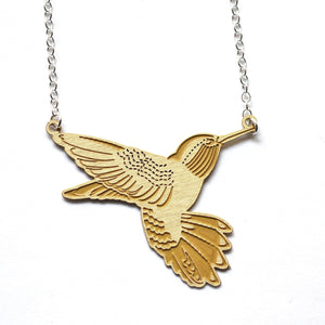 Nectar Hummingbird Necklace Brass