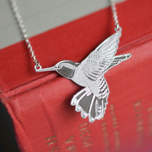 Nectar Steel Hummingbird Necklace