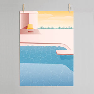 Dive - swimming pool print on grey