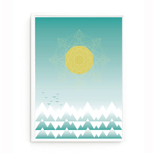Sun and mountain range print