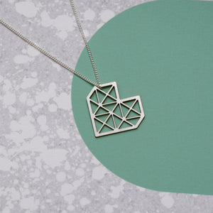 Geo heart necklace display