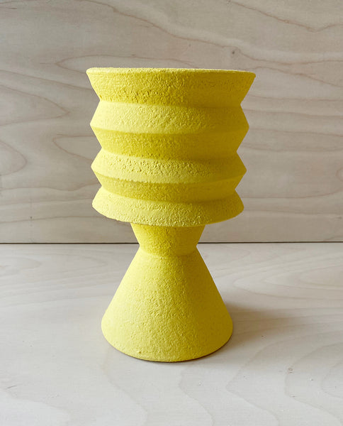 Two-part stoneware pot - Yellow