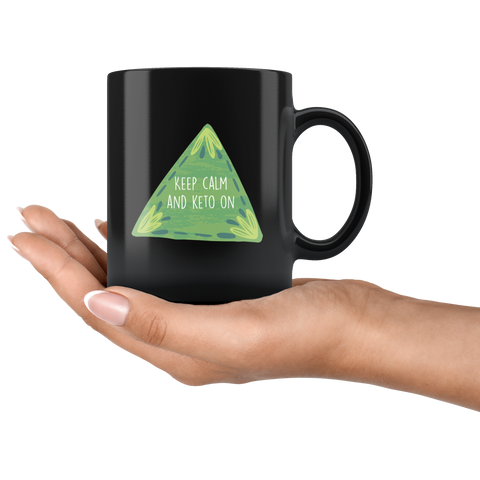 Image of Keep Calm And Keto On - Black 11oz Keto Mug