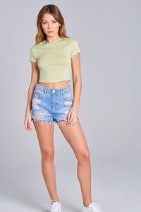 Baby It's You Crop Top - Pale Lime