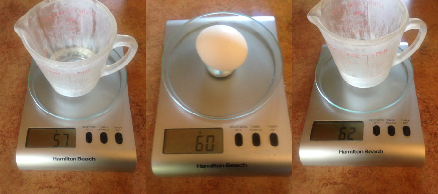 1/4 cup of fresh water weighs 57 grams, 1 egg weighs 60 grams, and 1/4 cup of salt water weighs 62 grams