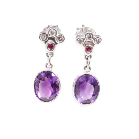 Amethyst, Diamond & Ruby Earrings in 18ct