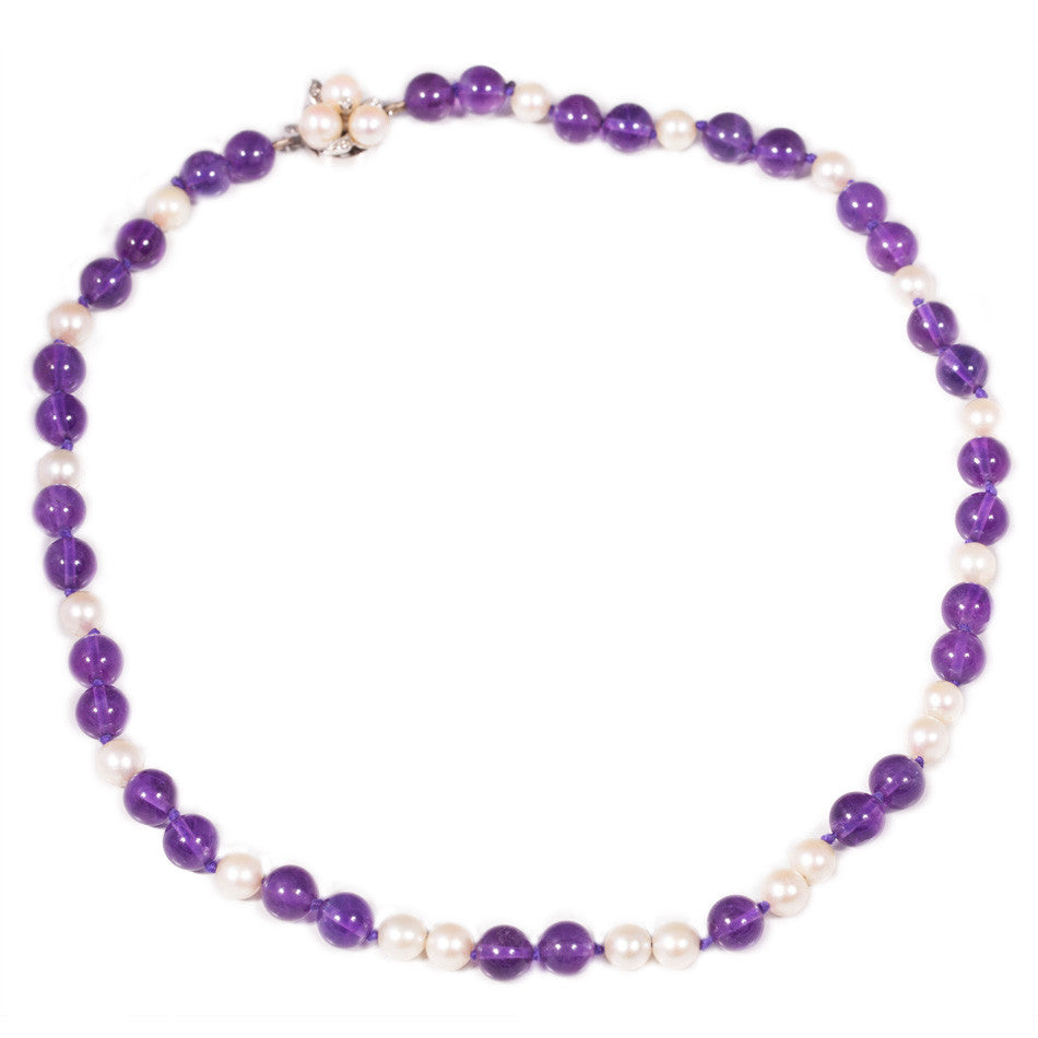 Vintage amethyst & pearl necklace
