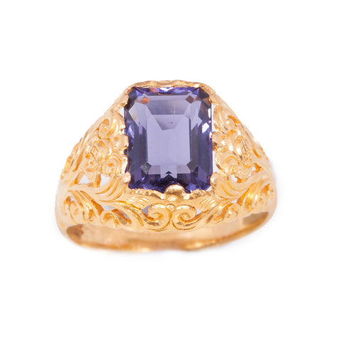 Handmade Art deco Style Iolite Ring in 22ct yellow gold
