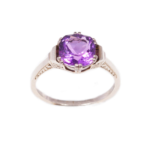 Vintage amethyst ring in 14ct white gold