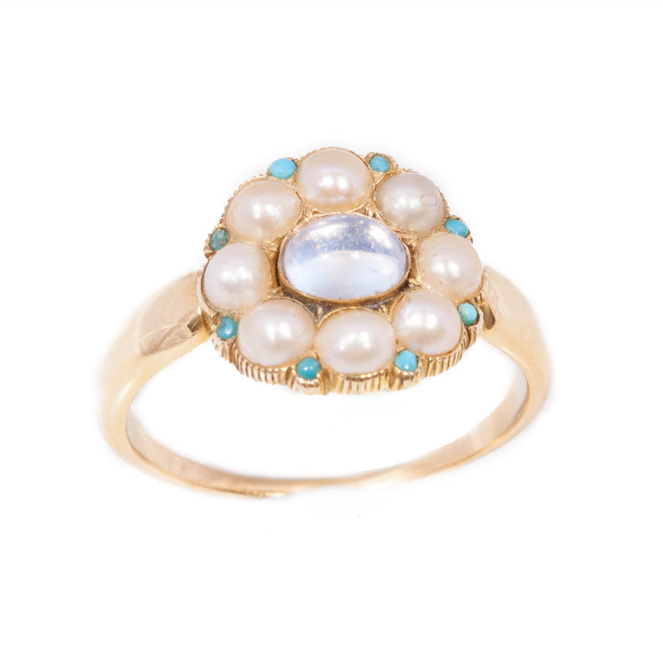Antique Moonstone Turquoise & Pearl mourning ring set in 18ct yellow gold