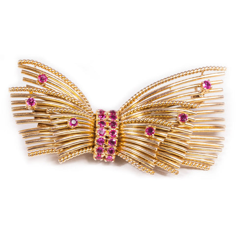 Antique Ruby Bow Brooch in 14ct yellow gold