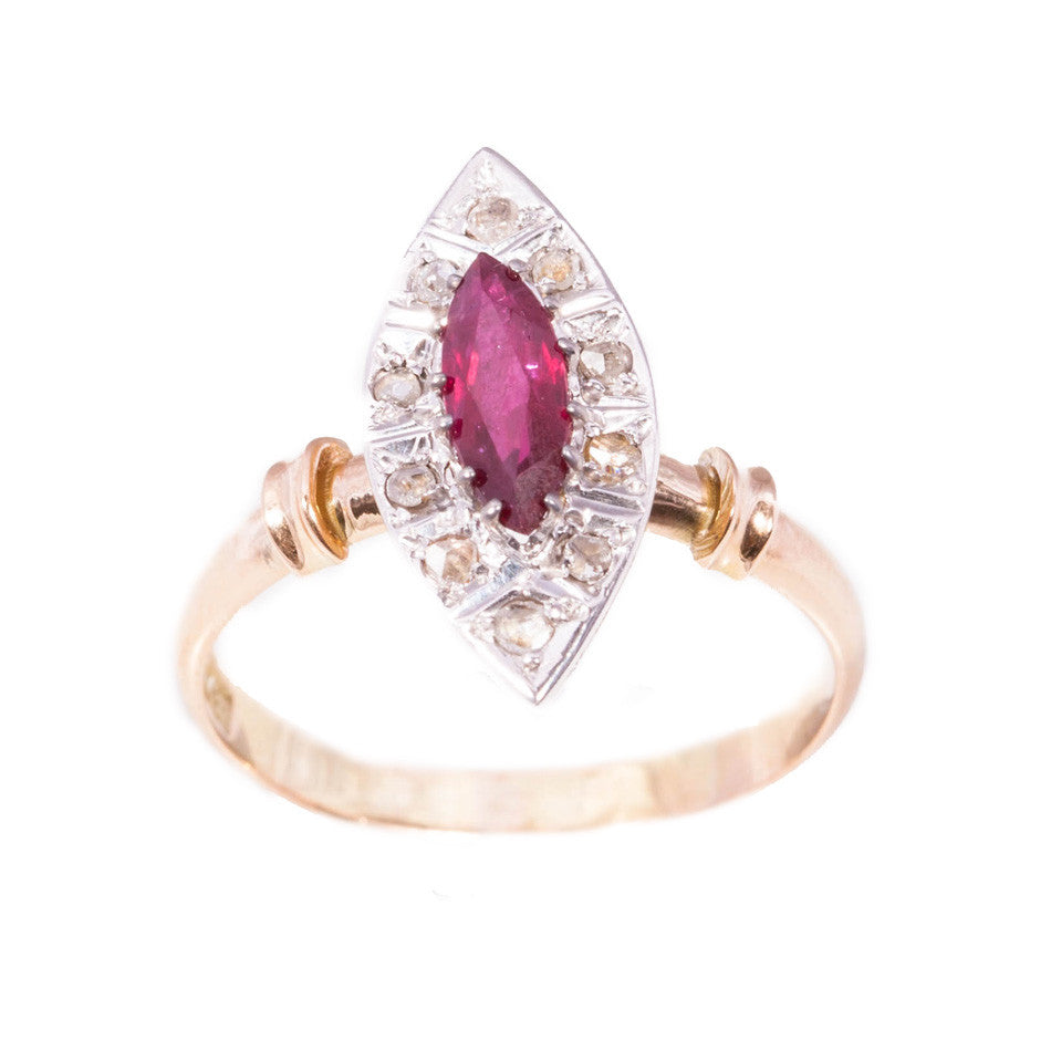 Antique Ruby and Rose Cut Diamond Ring ring set in 15ct rose gold