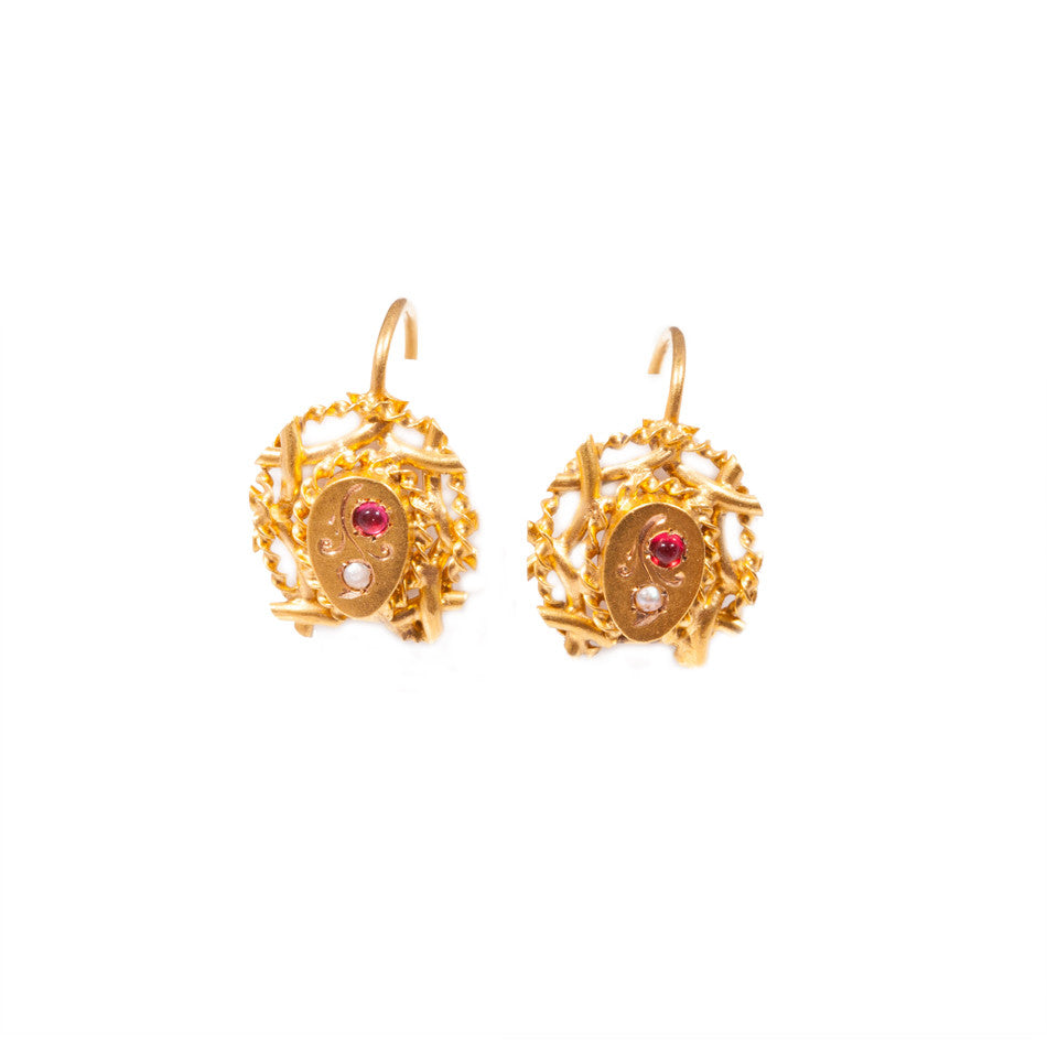 Antique Ruby & Seed Pearl earrings in 18ct yellow gold