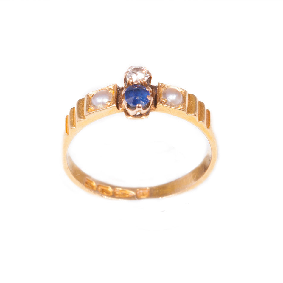 Antique Sapphire, Diamond & Pearl in 18ct yellow gold