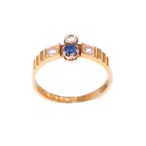 Antique Sapphire, Diamond & Seed Pearl Ring in 18ct